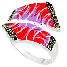 Marcasite multi color enamel 925 sterling silver ring jewelry size 8.5 c18364