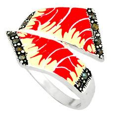 Marcasite multi color enamel 925 sterling silver ring jewelry size 8.5 c18418