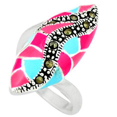 Marcasite multi color enamel 925 sterling silver ring jewelry size 5.5 c18441