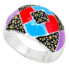 Marcasite multi color enamel 925 sterling silver ring jewelry size 6.5 c18475