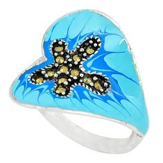 Marcasite multi color enamel 925 sterling silver ring jewelry size 8 c18420