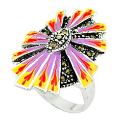Marcasite multi color enamel 925 sterling silver ring jewelry size 8 c18493