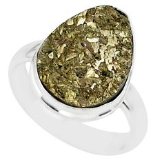 9.30cts marcasite pyrite druzy 925 silver solitaire ring jewelry size 7.5 r85802