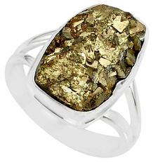 7.22cts marcasite pyrite druzy 925 silver solitaire ring jewelry size 7 r85783