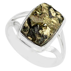 5.75cts marcasite pyrite druzy 925 silver solitaire ring jewelry size 7 r85786
