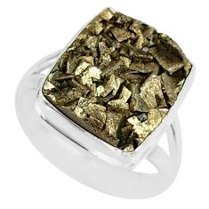 7.83cts marcasite pyrite druzy 925 silver solitaire ring jewelry size 7 r85797