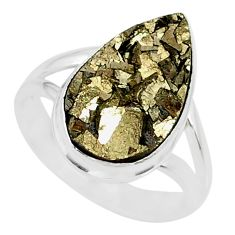 7.50cts marcasite pyrite druzy 925 silver solitaire ring jewelry size 7 r85818