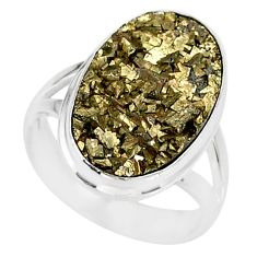 12.07cts marcasite pyrite druzy 925 silver solitaire ring jewelry size 7 r85834