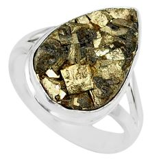 10.02cts marcasite pyrite druzy 925 silver solitaire ring jewelry size 8 r85817