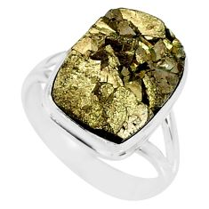 10.53cts marcasite pyrite druzy 925 silver solitaire ring jewelry size 8 r85833