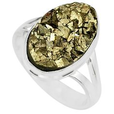 6.84cts marcasite pyrite druzy 925 silver solitaire ring jewelry size 8 r85838