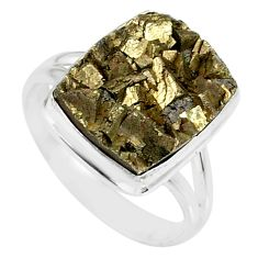 10.37cts marcasite pyrite druzy 925 silver solitaire ring jewelry size 9 r85836