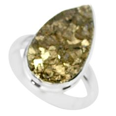 14.08cts marcasite pyrite druzy 925 silver solitaire ring size 8.5 r85791