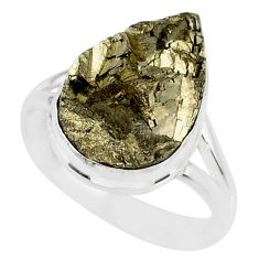 10.24cts marcasite pyrite druzy 925 silver solitaire ring size 8.5 r85801