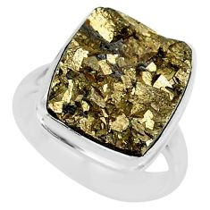 11.02cts marcasite pyrite druzy 925 silver solitaire ring size 7.5 r85811