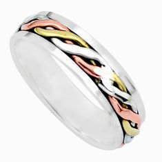 5.63gms meditation 925 silver two tone spinner band ring size 12.5 c21581