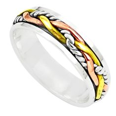 3.69gms meditation 925 silver two tone spinner band ring jewelry size 5.5 c20985