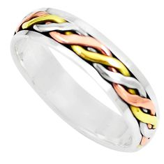 4.23gms meditation 925 silver two tone spinner band ring jewelry size 5.5 c20986