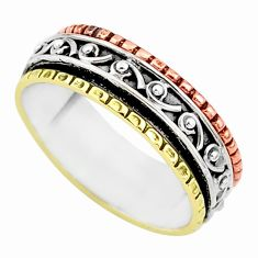 4.83gms meditation 925 silver two tone spinner band ring size 10 t5606