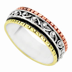 5.63gms meditation 925 silver two tone spinner band ring size 11.5 t5609