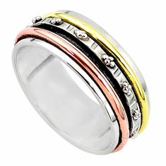 6.69gms meditation 925 sterling silver two tone spinner band ring size 11 t5661