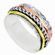 5.48gms meditation 925 sterling silver two tone spinner band ring size 7 t5636