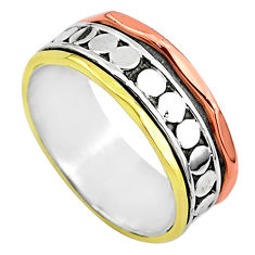 5.09gms meditation 925 sterling silver two tone spinner band ring size 7 t5733