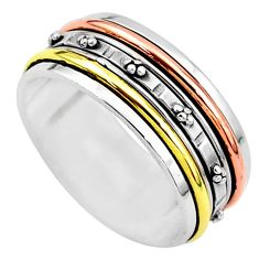 5.86gms meditation 925 sterling silver two tone spinner band ring size 7.5 t5664