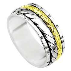 6.03gms meditation 925 sterling silver two tone spinner band ring size 9.5 t5713