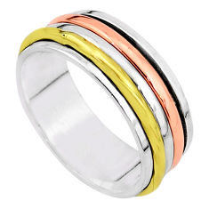 6.42gms meditation 925 sterling silver two tone spinner band ring size 9.5 t5773