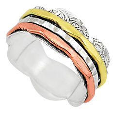 5.48gms meditation 925 sterling silver two tone spinner band ring size 6.5 t5786