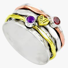 Meditation band amethyst 925 silver two tone spinner ring size 9.5 t12703