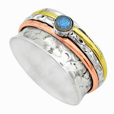 Meditation band blue labradorite silver two tone spinner ring size 8.5 t12629
