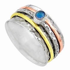 Meditation band blue labradorite silver two tone spinner ring size 10.5 t12633