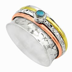 Meditation band blue labradorite silver two tone spinner ring size 10.5 t12639