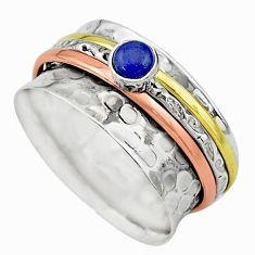 Meditation band blue lapis lazuli 925 silver two tone spinner ring size 9 t12636