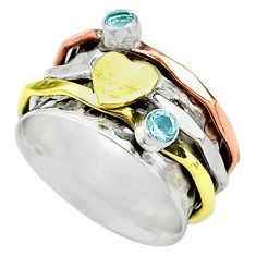 Meditation band blue topaz 925 silver two tone spinner ring size 7.5 t12693