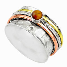 Meditation band brown tiger's eye 925 silver two tone spinner ring size 9 t12640