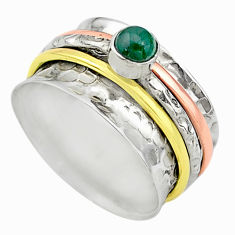Meditation band green chalcedony silver two tone spinner ring size 7.5 t12638