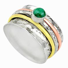Meditation band green malachite silver two tone spinner ring size 9.5 t12628