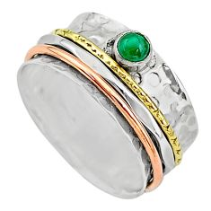 Meditation band green malachite silver two tone spinner ring size 10.5 t12662