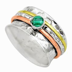 Meditation band green malachite925 silver two tone spinner ring size 8.5 t12635
