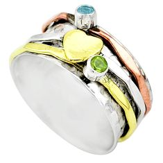 Meditation band green peridot 925 silver two tone spinner ring size 10 t12695