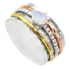 Meditation band labradorite 925 silver two tone spinner ring size 10.5 t12666