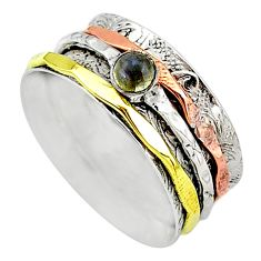 Meditation band labradorite 925 silver two tone spinner ring size 9.5 t12731