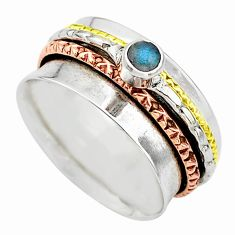 Meditation band labradorite silver two tone spinner ring size 9.5 t12710