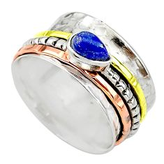 Meditation band lapis lazuli 925 silver two tone spinner ring size 7 t12735