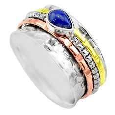 Meditation band lapis lazuli 925 silver two tone spinner ring size 9 t12739