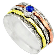 Meditation band lapis lazuli 925 silver two tone spinner ring size 10.5 t12733