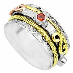 Meditation band natural garnet 925 silver two tone spinner ring size 8.5 t12683